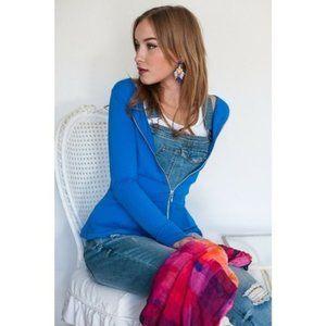 Evy's Tree Women's M Blue Peplum Top Zipper Jacket